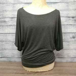 Zenana Outfitters dolman sleeve gray popover top